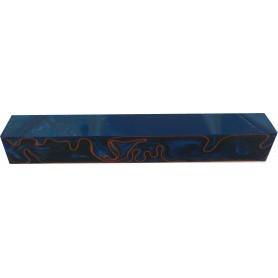 Acrylique stylo et incrustation Bleu et Rouge