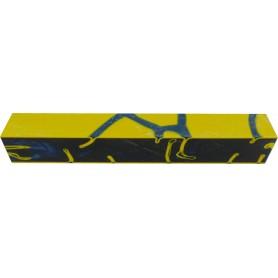 Acrylique stylo et incrustation Bleu et Jaune