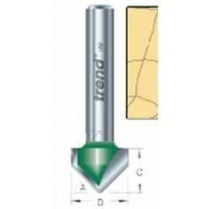 """Fraise à chanfreiner en V, 45°, tige 1/4"""", HC 6mm"""