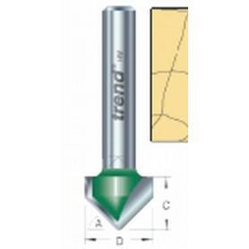 """Fraise à chanfreiner en V, 45°, tige 1/4"""", HC 11mm"""