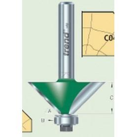 "Fraise à chanfreiner guidée 45°, tige 1/4"", HC 12,7mm"