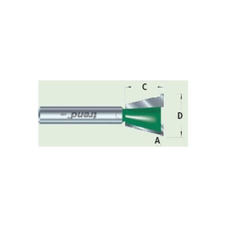 Fraises pour gabarits queues d'arondes, 104°, diam 15,9mm