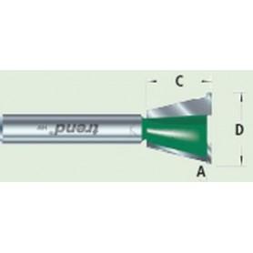 Fraises pour gabarits queues d'arondes, 104°, diam 15,1mm